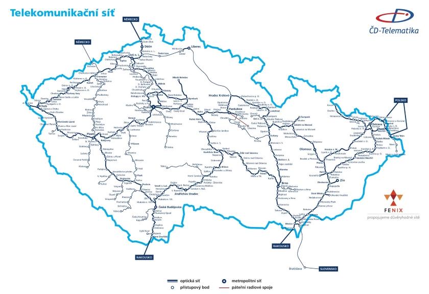 Páteřní síť - mapa pokrytí